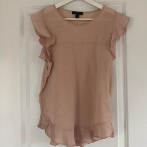 J Crew ruffle sleeved top in pink champagne color